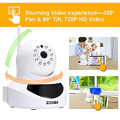 ZOSI Baby Monitor 720P HD Wi-Fi Wireless Network Baby Video Security IP Camera with QR Code Scan for iPhone /Android,Two-way Audio,Night Vision,360 Rotation P/T Control,Motion Detection Alert