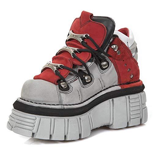 Con New Rojo 106b s1 39 Piel Unisex Zapato Rock Gris Eu Plataforma M Metallic De pfEqnwxgA