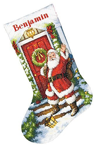 Dimensions Gold Collection Counted Cross Stitch 'Welcome Santa' Personalized Christmas Stocking Kit, 18 Count White Aida, -