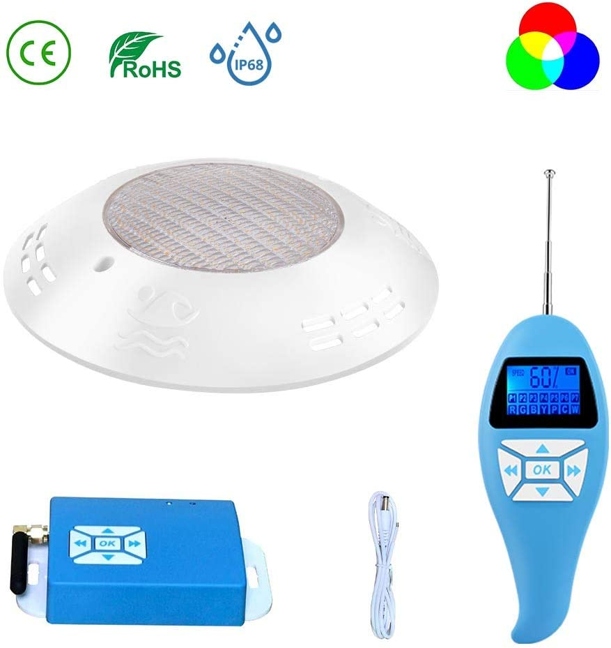 LyLmLe Led Piscina 20W Foco LED Plano Sincronizador externo RGB con Control Remoto para Superficie Sumergible Iluminación Impermeable IP68,12V AC(1 Foco)