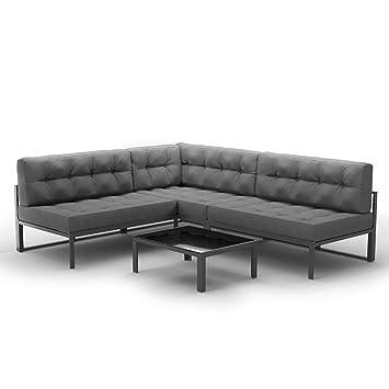 Amazon.de: OSKAR Alu Lounge Gartenmöbel Set inkl. Palettenkissen + ...