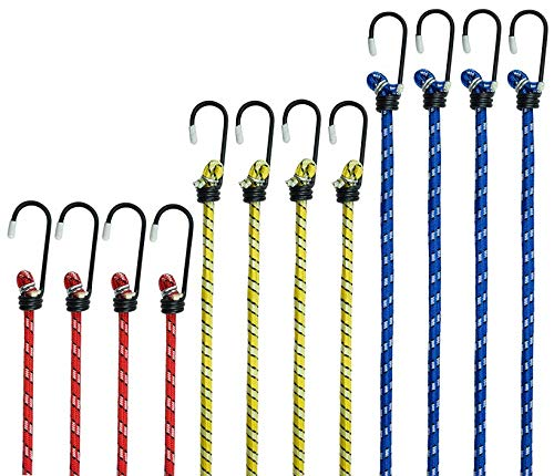tama/ños y capacidad de carga 48 kg en total Bungee Cord colores surtidos Juego de 12 cuerdas con ganchos