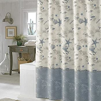 DS BATH Madamoiselle Seashell Shower CurtainWaterproof Polyester Fabric CurtainsOcean Decorative