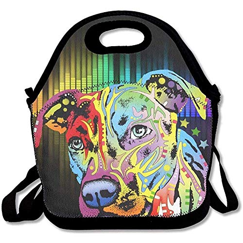 - JAYESH Neon Pitbull Colorful Dog Face Insulated Neoprene Lunch Bag Tote Handbag Lunchbox Food Container Gourmet Tote Cooler Warm Pouch for School Work Office