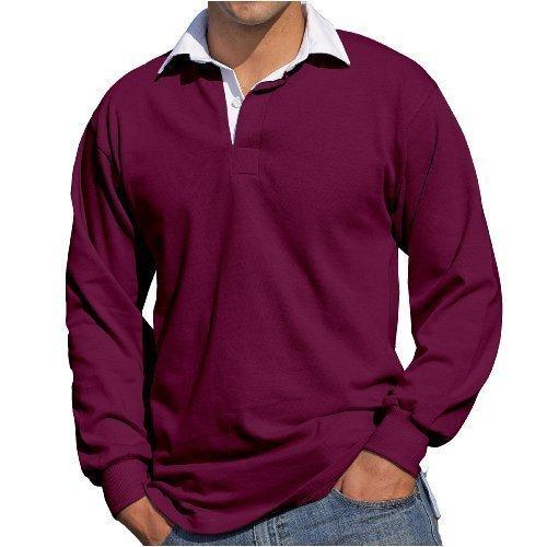 Front Row - Herren Männer Langärmeliges Rugby Shirt - XL, Weinrot