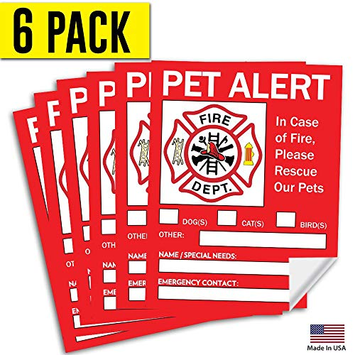 (Pet Alert Safety Fire Rescue Sticker - Save Our Pets Emergency Pet Inside Decal - in Case of Emergency Danger Pet in House Home Window Door Sign )