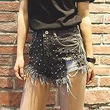 YFF Night Shop shorts high waist hole breaking flash rivet jeans pants ,L,Grey black