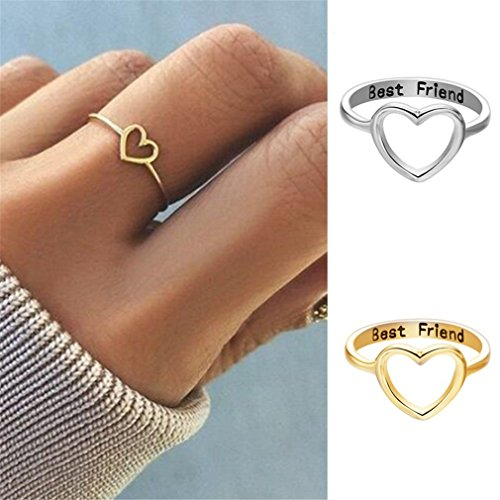GUAngqi Fashion Best Friends Letter Ring Simple Hollow Heart Ring Friendship Jewelry Toe Ring,8 by GUAngqi (Image #2)