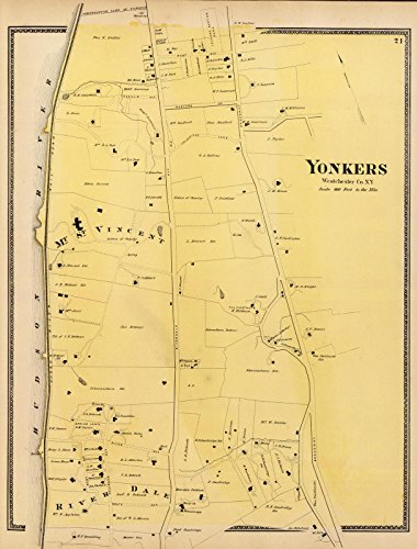 County Atlas | 1868 Yonkers, N.Y. | Historic Antique Vintage Map - Ny County Yonkers
