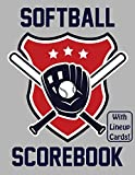 Softball Scorebook With Lineup Cards: 50 Scorecards