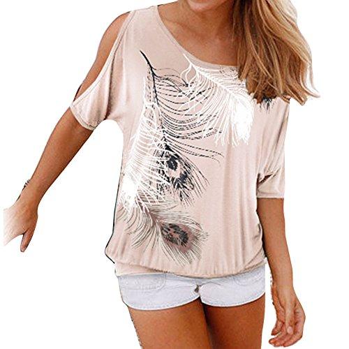 Manche t Mode Loose Yuxin Chemise Blouse Abricot en Epaule Chemisier Casual Chemises Fit Rond Femme Imprime Off Shirt Col Plumes Courte Sexy Tvvw5Sx