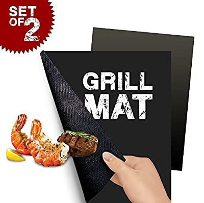 BBQ Grill Mat Set of 2 - Perfect for Baking on Gas, Charcoal, Oven and Electric Grills - Reusable, Durable, Heat Resistant Barbecue Sheets For Grilling Meat, Veggies, Seafood from Olala