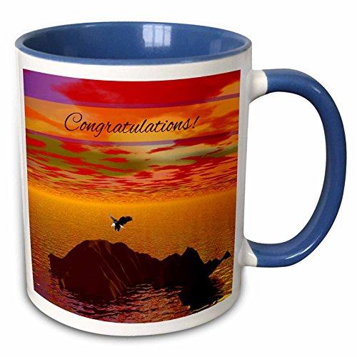 (3dRose Beverly Turner Congratulations - Gold Tone Sunset, Eagle Landing, 3d look, Congratulations - 15oz Two-Tone Blue Mug (mug_216628_11))