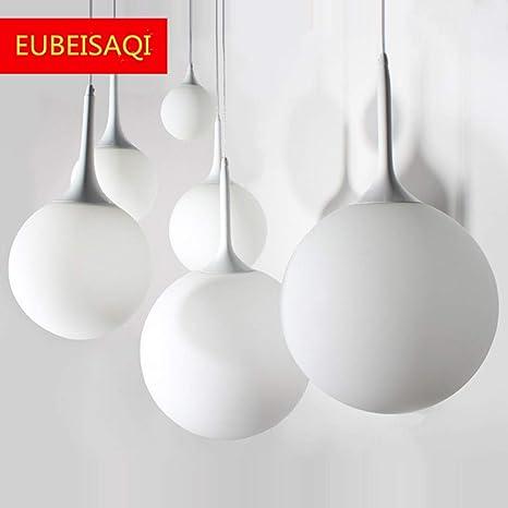 Moderna Globo redondo moderno de cristal blanco Lámpara de Techo Colgante Cristal Colgante Luz Vintage Industrial E27 Lámparas de araña para ...