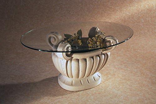 Tavolino da Salotto in Marmo con Piano Vetro MOD. Asolo