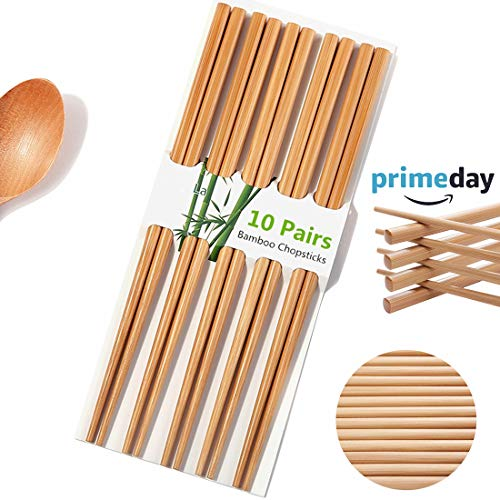 (Chopsticks Reusable Chinese Natural Bamboo Chopsticks 9.4