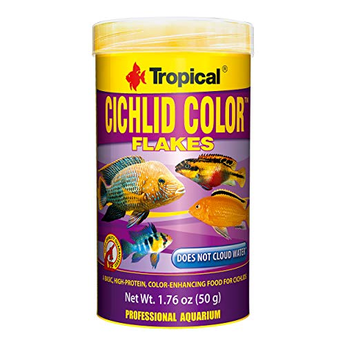 Tropical USA Cichlid Color Flakes Fish Food Tin, 50g