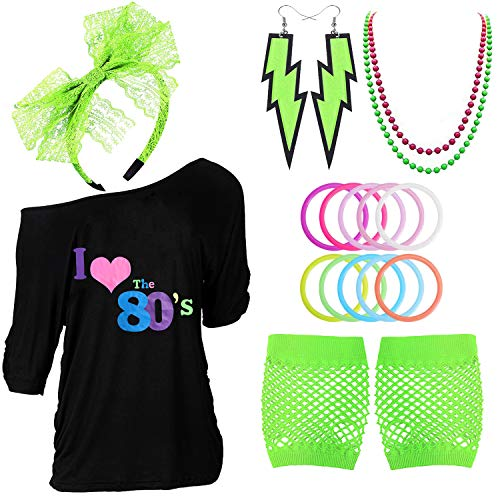 80s Outfits Costume Accessories for Women - I Love 80's Print Off Shoulder T-Shirt,Lace Headband Necklace Bracelet Gloves for 80s ()