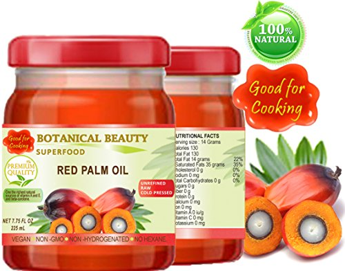 RED PALM OIL. 100% Pure / UNREFINED / EXTRA VIRGIN / Cold Pressed. SUPER FOOD. 7.75 Fl.oz – 225 ml. by Botanical Beauty (Image #1)