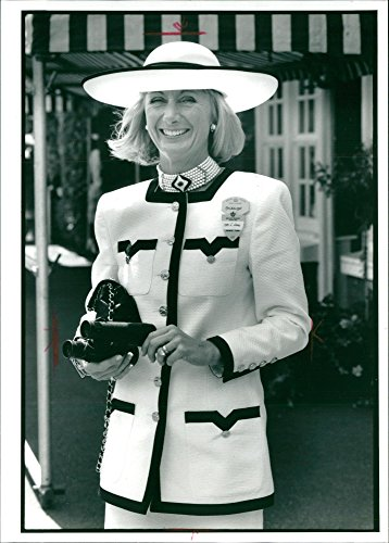 Vintage photo of Mrs. John Leat wore her seven strand David Morris choker with white cotton pique suit.