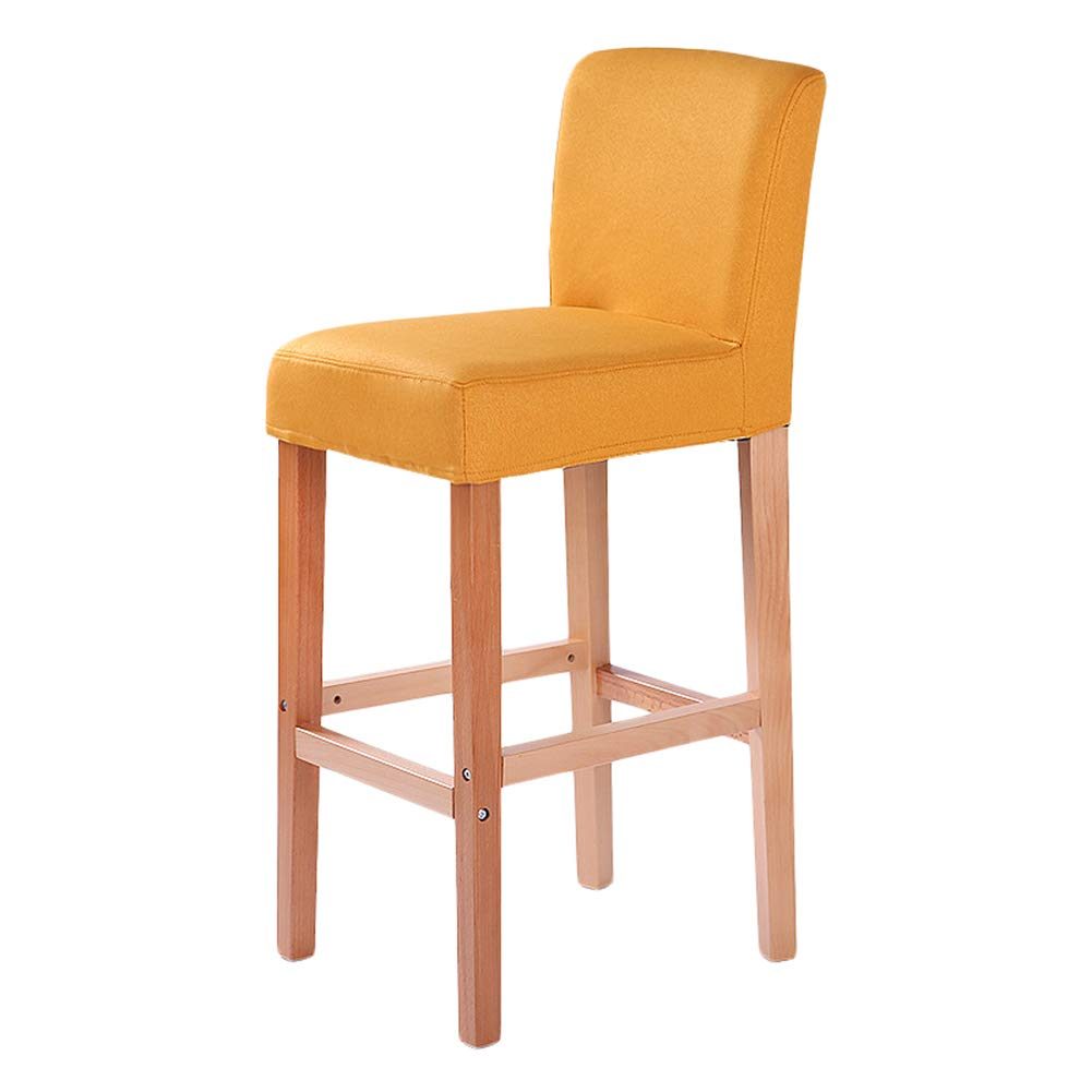 LIQICAI Bar Stool Cotton and Linen Wooden High Legs with Natural Finishes Frame 65/75cm Seat Height, 8 Colors Optional (Color : Orange, Size : 42x41x93cm)