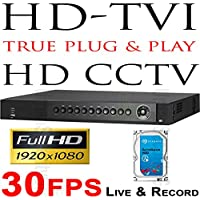 USG 8 Camera TVI CCTV DVR + 4TB HDD 1080P @ 30fps Each Channel LIVE & RECORD 8x BNC HD Video-In, 2MP 1080P 1920x1080 @ 240FPS Resolution, USB, HDMI + VGA Video Outputs, RCA Audio