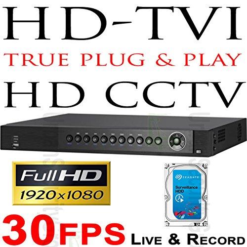[USG 8 Camera TVI CCTV DVR + 4TB HDD 1080P @ 30fps Each Channel LIVE & RECORD 8x BNC HD Video-In, 2MP 1080P 1920x1080 @ 240FPS Resolution, USB, HDMI + VGA Video Outputs, RCA Audio] (Camera Maximum Single Coax Control)