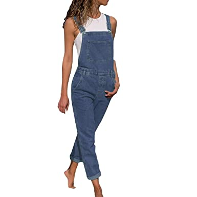 1ef1f5219777 Amazon.com  Long Denim Rompers for Women Bib Pants Casual Jumpsuit for  Teens Elegant Outfits (Blue