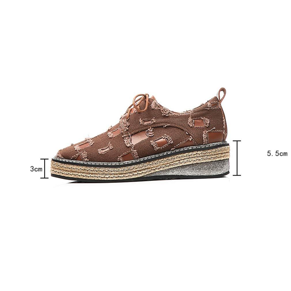 YAN Frauen Frauen Frauen Wedge Schuhe Spring Fall Low-Top Casual schuhe Denim Leder Lace-Up Woven Schuhe Low-Top Schuhe Damen Schuhe schwarz braun braun 39 4f7ab6