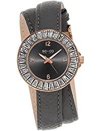 Womens 5070.4 SoHo Rose Gold-Tone Crystal Watch With Grey Double-Wrap Band