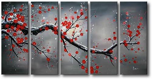 Jojospring Winter Plum 5-Piece Oil Hand Painted Canvas Art Set