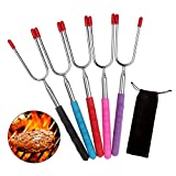 "Barbecue Skewers, LANIAKEA Extendable Marshmallow Roasting Sticks/Telescoping Skewers, Extra Long 34"" Hot Dog Fork for Fire Pit, Camping, Campfire, Bonfire Kids Accessories"