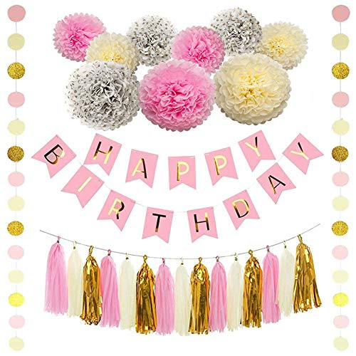 Pink and Gold Birthday Party Decorations - Happy Birthday Banner, Pom Poms Flowers, Paper Garland, Tassels for First Birthday Decoration, Girls Party Supplies