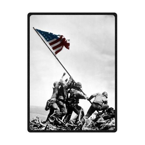 Fleece Corps Fabric Marine - United States Marine Corps In Iwo Jima USMC Custom Fleece Blanket Throw Blanket 58 x 80 (Large)