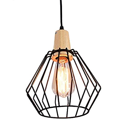 MY CANARY Vintage Rustic Style Industrial Barn Hanging Pendant Light, Metal Cage Wire Ceiling Chandelier Guard Lamp, Retro Overhead Light Fixtures Lighting