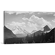 """ARTCANVAS Forest to Mountains and Clouds - Glacier National Park - Montana Canvas Art Print by Ansel Adams-26"""" x 18"""" (1.50"""" Deep)"""