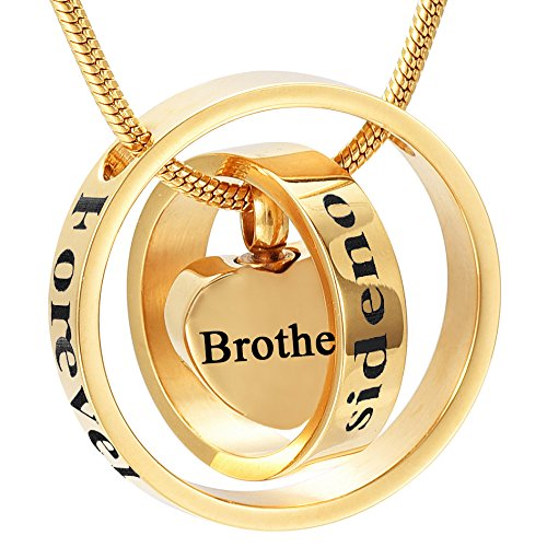 Double Heart Charm Jewelry (Memorial Jewelry Double Circle Heart Charms Cremation Jewelry - Forever In My Heart,No Longer By My Side (Brother, gold-plated-stainless-steel))