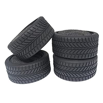 "4pcs 1.02"" Rubber RC Tires With Foam Inserts Inner Diameter:52mm Width: 26mm For HPI Redcat HSP 1:10 On Road Touring Racing Model Car"