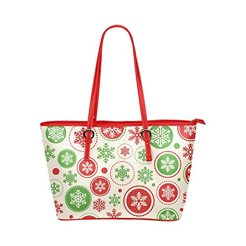 Xmas Christmas Snowflake PU Leather Tote Shoulder Bag Handbag