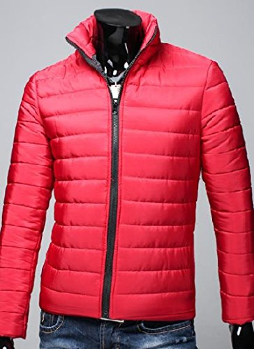 Parka Simple Red Mens Warm Collar Zipper Outwear Jacket AngelSpace Stand Thick 68Yqw