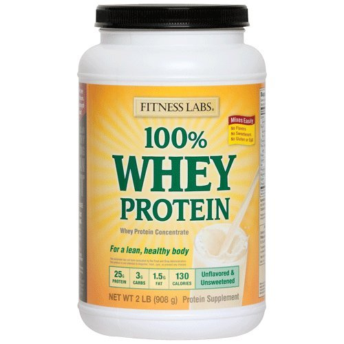 Fitness Labs 100% Whey Protein Unflavored and Unsweetened (2 Pounds) Fitness Health Lab
