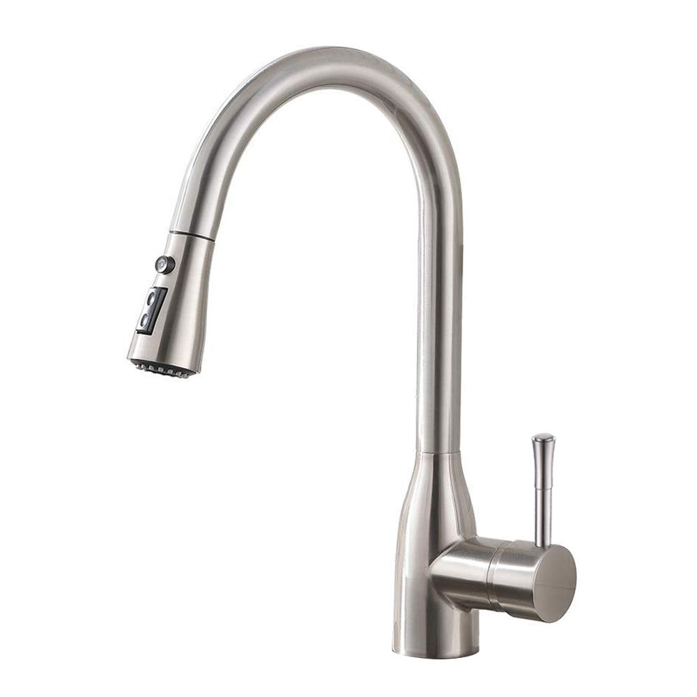 ESOW Pull Down Sprayer Kitchen Sink Faucet, Lever Handle High Arc Kitchen Faucets with Pull Down Sprayer (Dual-Function Nozzle), SUS304 Lead-Free Brushed Nickel, Hot and Cold Water Supplied
