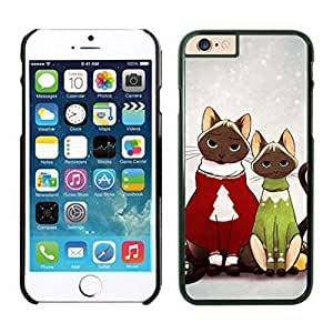 2014 Newest Lovely Red And Green Decorated Christmas Cats Iphone 6 Cover Case For Iphone 6 4.7 Inch WANGJING JINDA