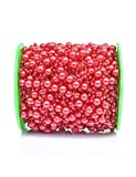 200 Feet Pearl Garland Red Pearl Beads Chain String of Pearls