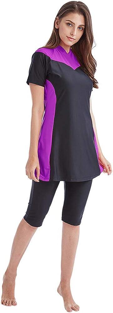 Meijunter Costume da Bagno Donna Musulmano 2 Pezzi Muslim Swimwear Asciugatura Rapida Beachwear Burkini Elasticizzato Protezione Solare Costume da Surf UPF 50+