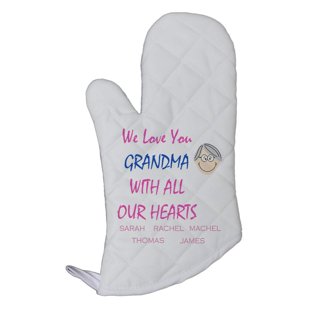 Personalized Custom Text Family We Love You Grandma Polyester Oven Mitt