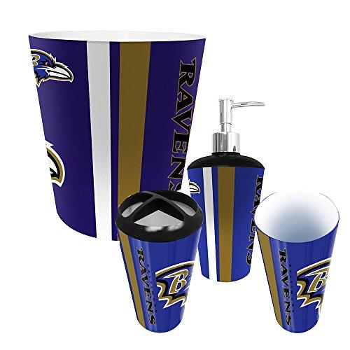 Baltimore Ravens NFL Complete Bathroom Accessories 4pc Set (Ravens Soap Dispenser compare prices)