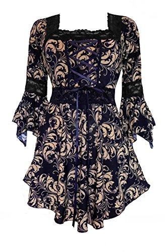 Gold Corset Bodice - Dare to Wear Victorian Gothic Peasant Plus Size Women's Plus Size Renaissance Corset Top, Gold Leaf 4X