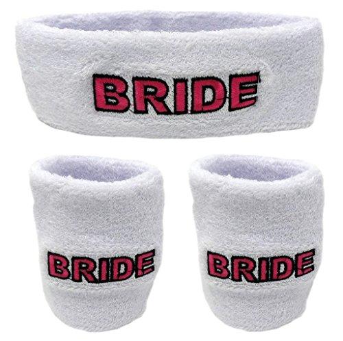 [Funny Guy Mugs Bride Unisex Sweatband Set (3-Pack: 1 Headband & 2 Wristbands)] (Bride Running Costume)