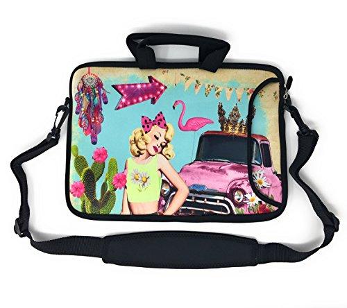 Blue Joy Laptop Case 14 15 15.6 Inch Protective Neoprene Messenger Shoulder Bag Sleeve Briefcase Compatible For Chromebooks (15 Inch, PinUp) ()